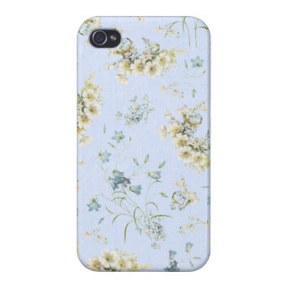 Blue and white vintage floral print iPhone 4/4S case