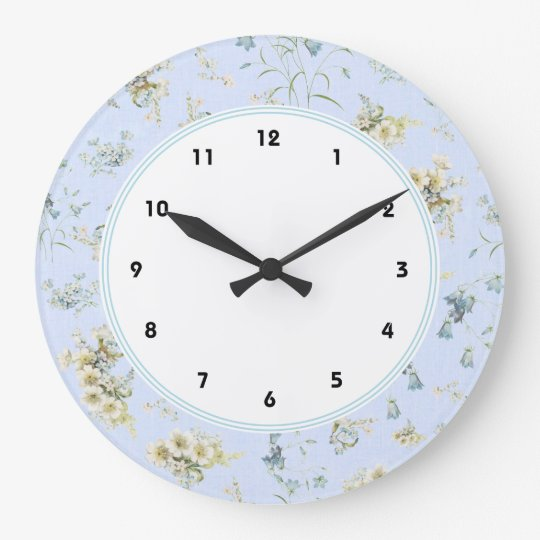 Blue and white vintage floral print wall clocks