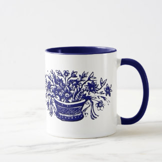 Blue and White Vintage Flower Basket Mug