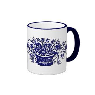 Blue and White Vintage Flower Basket Coffee Mug