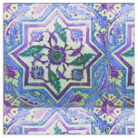 Blue and White Vintage Ottoman Turkey Iznik Tile Fabric
