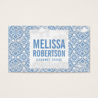 Blue and White Vintage Pattern for Bakery, Food Business Card
