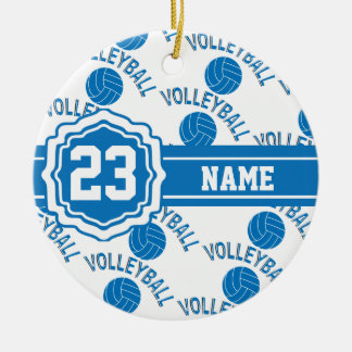 Blue and White Volleyball Ceramic Ornament