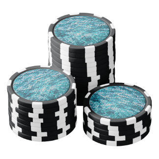 Blue and White Water Pattern Poker Chip Set