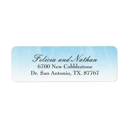 Blue and White Watercolor Ombre Return Address Label