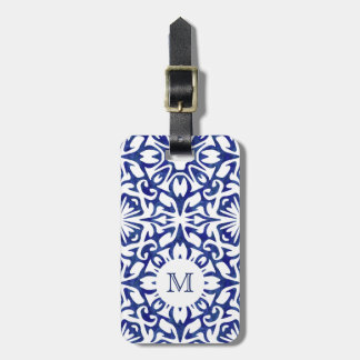 Blue and White Watercolor Spanish Tile Monogram Luggage Tag
