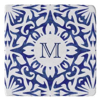 Blue and White Watercolor Spanish Tile Monogram Trivet