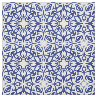 Blue and White Watercolor Spanish Tile Pattern Fabric