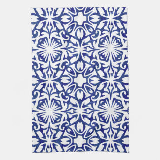 Blue and White Watercolor Spanish Tile Pattern Kitchen Towel