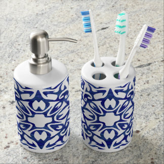 Blue and White Watercolor Spanish Tile Pattern Soap Dispenser And Toothbrush Holder