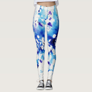 Blue and White Watercolored Leggings