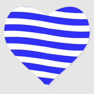 Blue and White Waves Heart Sticker