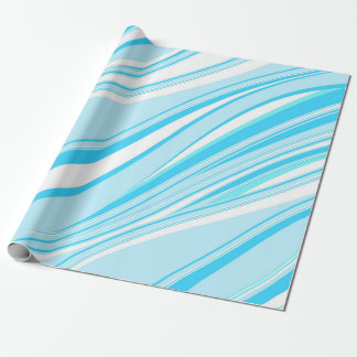 Blue and white wavy stripes pattern wrapping paper