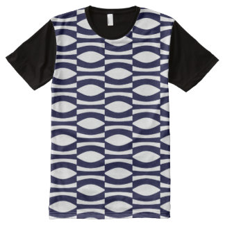 Blue And White Wavy Stripes Retro Pattern All-Over-Print T-Shirt