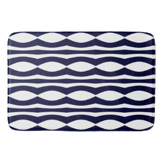 Blue And White Wavy Stripes Retro Pattern Bathroom Mat