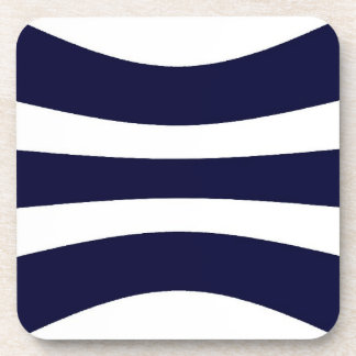 Blue And White Wavy Stripes Retro Pattern Coaster
