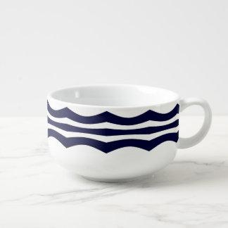 Blue And White Wavy Stripes Retro Pattern Soup Mug