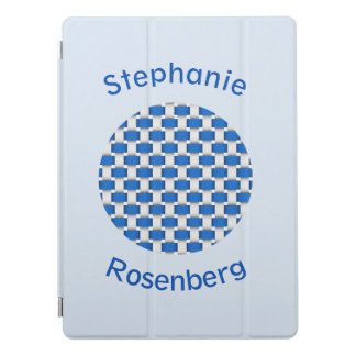 Blue and White Weave Design with Name iPad Pro Cover
