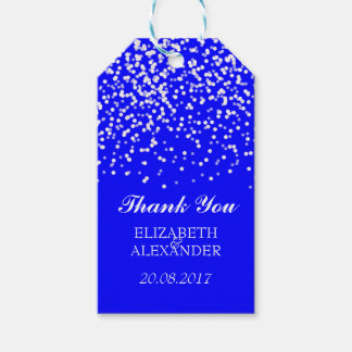 Blue and White Wedding Confetti Pattern Gift Tags