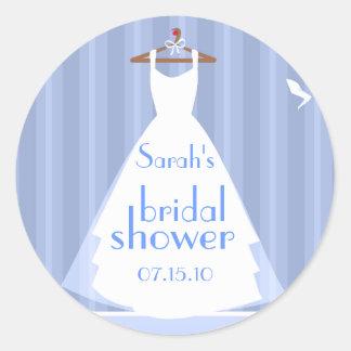 Blue and White Wedding Dress Bridal Shower Round Sticker
