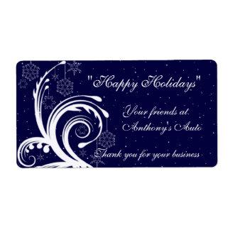 Blue and White Wedding,  Happy Holidays Wine Label