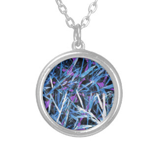 Blue and White Weeds on a Purple Grid Silver Plated Necklace