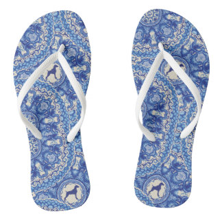 BLUE AND WHITE WEIM BEACH SANDALS