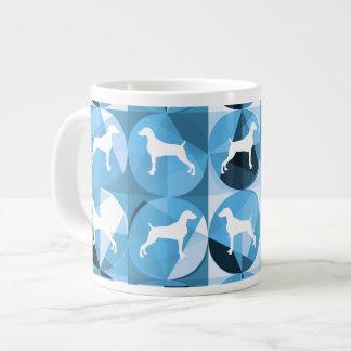 BLUE AND WHITE WEIMARANER CIRCLE COFFEE MUG