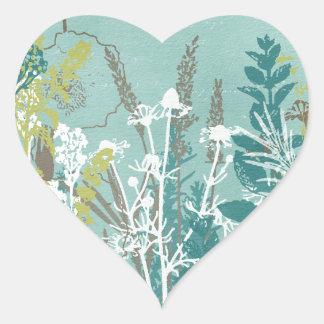 Blue and White Wildflower Field Heart Sticker