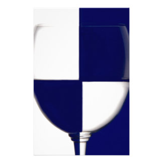 Blue and White wine glass shows the contrast Custom Stationery