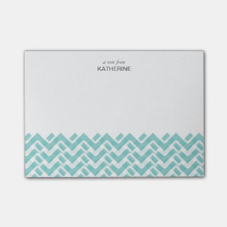 Blue and White Woven Chevron with Name Post-it® Notes