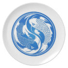 Blue and White Yin Yang Koi Fish Plate