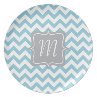 Blue and White Zigzag Monogram Party Plates