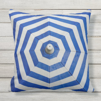 Blue and White Zigzag Pattern Outdoor Pillow