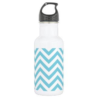 Blue and White Zigzag Stripes Chevron Pattern 532 Ml Water Bottle