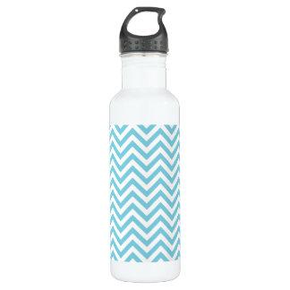 Blue and White Zigzag Stripes Chevron Pattern 710 Ml Water Bottle