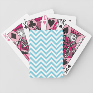 Blue and White Zigzag Stripes Chevron Pattern Bicycle Playing Cards