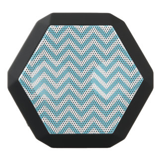 Blue and White Zigzag Stripes Chevron Pattern Black Bluetooth Speaker