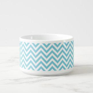 Blue and White Zigzag Stripes Chevron Pattern Bowl