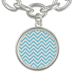 Blue and White Zigzag Stripes Chevron Pattern Bracelet
