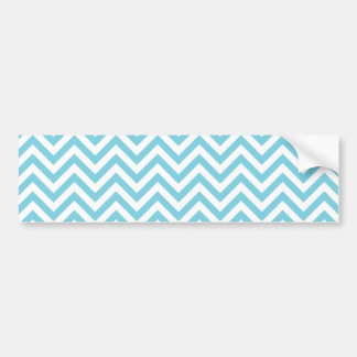 Blue and White Zigzag Stripes Chevron Pattern Bumper Sticker