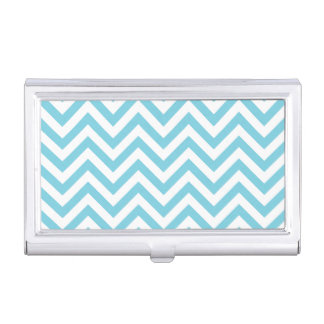 Blue and White Zigzag Stripes Chevron Pattern Business Card Holder