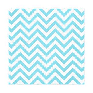 Blue and White Zigzag Stripes Chevron Pattern Canvas Print