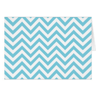 Blue and White Zigzag Stripes Chevron Pattern Card