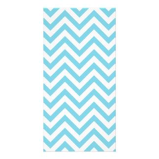 Blue and White Zigzag Stripes Chevron Pattern Card