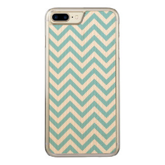 Blue and White Zigzag Stripes Chevron Pattern Carved iPhone 8 Plus/7 Plus Case