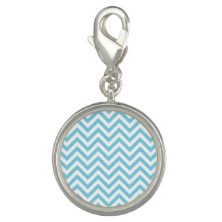 Blue and White Zigzag Stripes Chevron Pattern Charms