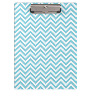 Blue and White Zigzag Stripes Chevron Pattern Clipboard