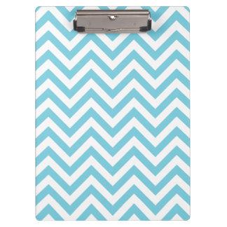Blue and White Zigzag Stripes Chevron Pattern Clipboard