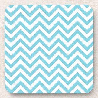 Blue and White Zigzag Stripes Chevron Pattern Coaster